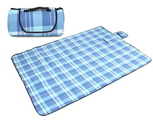 Tapis de pique-nique en extérieur – Ouvrant épais coussin Camping Plage Imperméable -- bleu ciel