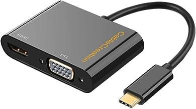 Cable adaptador USB C macho a VGA + HDMI (4K x 2K, 30 Hz), adaptador hembra (DP modo alternativo), para Macbook Pro, Chromebook Pixel, Dell XPS 13, Yoga 910, Asus Zen AIO, negro, 20 cm negro
