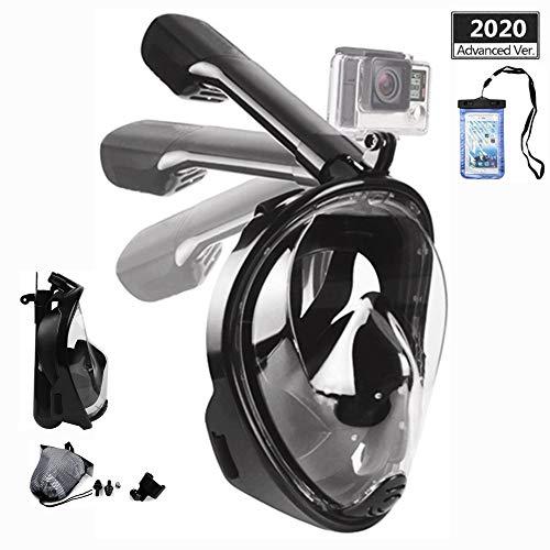 Churidy Tauchmaske, Faltbare Vollmaske Schnorchelmaske Vollgesichtsmaske mit 180° Sichtfeld und Kamerahaltung, Dichtung aus Silikon Anti-Fog und Anti-Leck Technologie für Erwachsene und Kinder