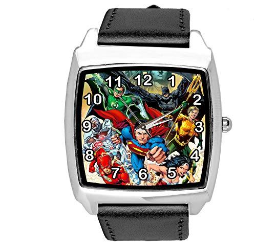 taport® DC Liga de la justicia superhéroes cuarzo cuadrado Watch Negro Real Cuero Banda + libre batería de repuesto + libre bolsa de regalo