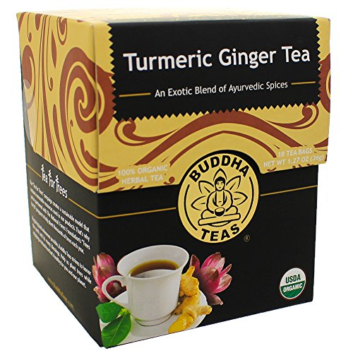 Turmeric Ginger Tea Organic Herbs 18 Bleach Free Tea Bags (2 Pack)