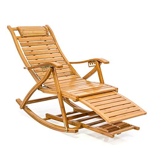 QULONG Massivholz-Recliner-Stuhl mit Wattepad, faltender Terrasse Alter Mann-Schaukelstuhl, Bambus Falten Recliner tragbar mit Fußmassage, 5-Gang-Anpassung
