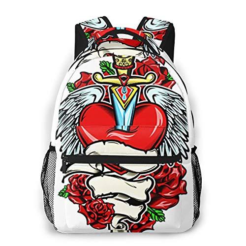 Laptop Rucksack Schulrucksack Gebrochenes Herz Tattoo Messer, 14 Zoll Reise Daypack Wasserdicht für Arbeit Business Schule Männer Frauen