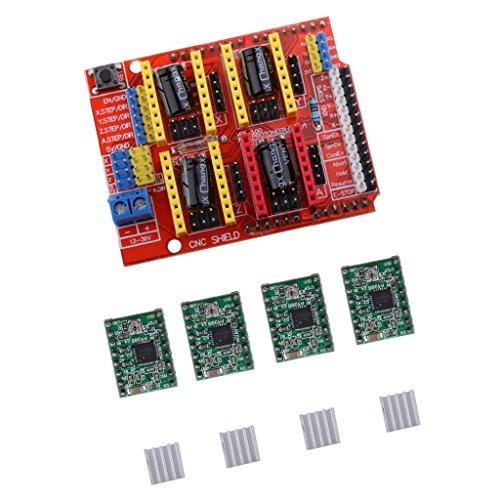 Almencla CNC Board + A4988 Stepstick + 4 Stü Kühlkörper Für Arduino V3 Engraver