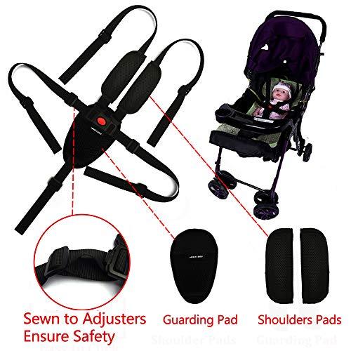 Zarpma Sicherheitsgurt für Kinderwagen, 5-/3-/2-Punkt, verstellbar, Sicherheitsgurte für Babys, Kinderwagen, Hochstuhl (inkl. Schulterpolster und Schutzpolster)