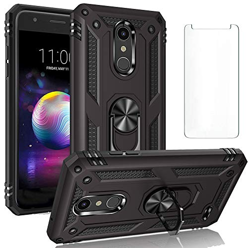 Phone Case for LG K10 2018 Cases with Tempered Glass Screen Protector Ring Holder Stand K30 X410 X415 X4 Plus LGK30 LG30 30 10 Shockproof Back Cover Black