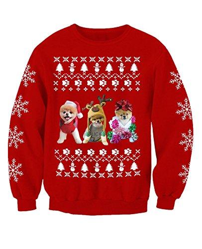 Jiffpom inspirierter süßer Hund Pom Puppy Kinder Weihnachten Sweatshirt Pullover Gr. X-Large, rot