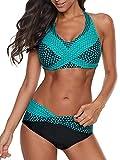 Yanekop Womens Polka Dot Print Bikini Set Halter Neck Swimwear Twist Front 2 Piece Swimsuits(Blue Green,M)