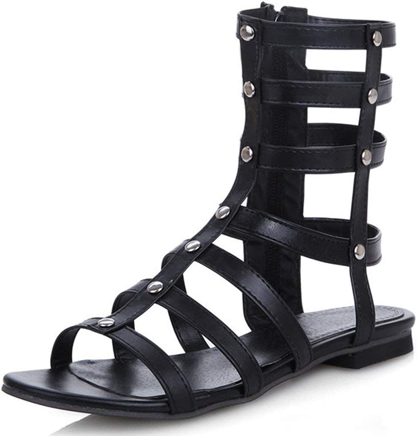 Ghssheh Women's Trendy Cut Out Rivets Studded Mid Calf Boots Side Zipper Flat Gladiator Sandals White 4 M US