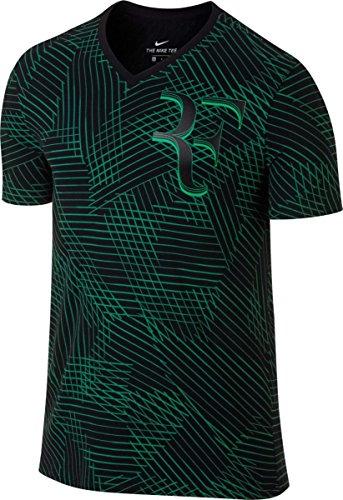 Nike Rf M Nkct Tee AOP T-Shirt Linie Roger Federer für Tennis für Herren, Schwarz (Black/Stadium Green), M
