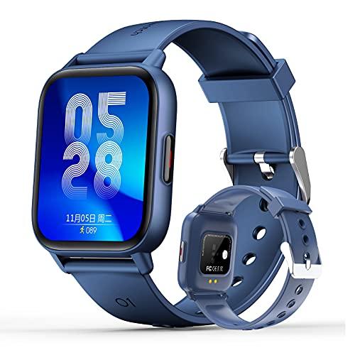 HQPCAHL Smartwatch Reloj Inteligente Impermeable IP67 para Hombre Mujer Niños Temperatura Corporal con Monitor Sueño Contador Caloría Pulsómetros Podómetro para Android iOS,Azul