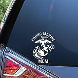 Sunset Graphics & Decals Proud Marine Mom Decal Vinyl Car Sticker Military | Cars Trucks Vans Walls Laptop | White | 5.5 inch | SGD000210
