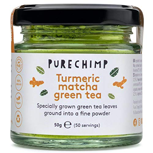 Turmeric Matcha Green Tea Powder 50g (1.75oz) by PureChimp - Ceremonial Grade From Japan - Pesticide-Free - Recyclable Glass + Aluminium Lid (Turmeric)