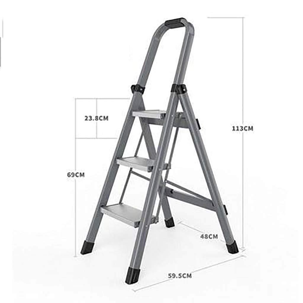 AOLI Escalera Antideslizante Plegable, Escalera de Aluminio Multifunción Escalera Portátil para Trabajo Pesado para el Hogar-Gris3 59.5X48X113Cm (23X19X44Inch),Gray3: Amazon.es: Bricolaje y herramientas