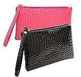 iSuperb 2 Pezzi Portafoglio Portamonete Magico Pochette Impermeabile Wallet Credit Card Holder in Pelle 19×11 cm (Nero e Rosso)