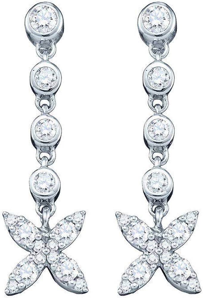 10kt White Gold Round Diamond Flower Cluster Dangle Earrings 3/4 Cttw