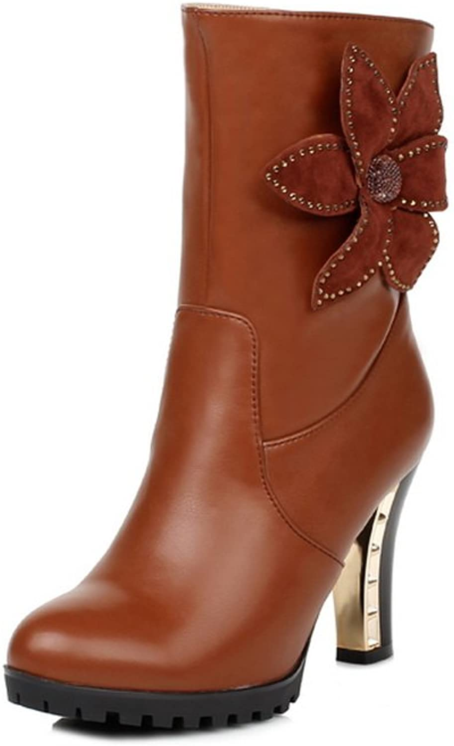 Queenfashion Women's High Chunky Heels Combat Boots with Flowers