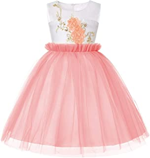 LUKEEXIN Girl Princess Puffy Tulle Dress Lace Bridesmaid Dress for Piano Age 2-13Y