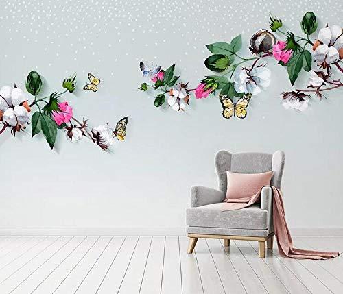 Tapete Wandbild Foto Nordic Ikea Stil Literarische Mode Baumwolle Vogel Hintergrund Wandmalerei- (430 cm x 300 cm)