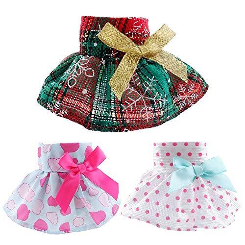 yamaso Santa Couture Clothing for elf Doll (Fluffy Vest+ Plaid Skirt + Bathrobe)