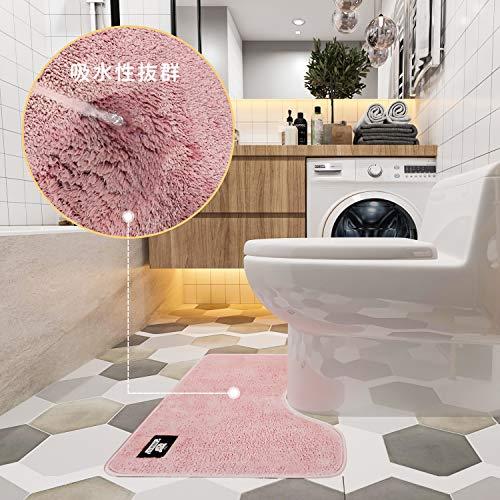 トイレマットふわふわ/吸水性いいトイレまっと洗える人気トイレマット滑り止めといれまっとおしゃれトイレ敷物トイレ用マットふかふかトイレ足元マットレギュラーサイズトイレマットトイレのマット(ピンク,45*60cm)