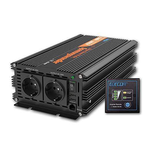 EDECOA Wechselrichter 1500w Spannungswandler 24v 230v REINER SINUS mit Fernbedienung und 2x USB Wechselrichter 1500w und 3000w Peak …