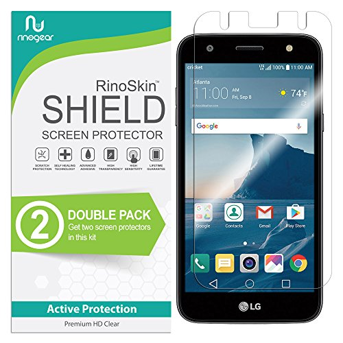 (2-Pack) RinoGear Screen Protector for LG X Charge Case Friendly LG X Charge Screen Protector Accessory Full Coverage Clear Film