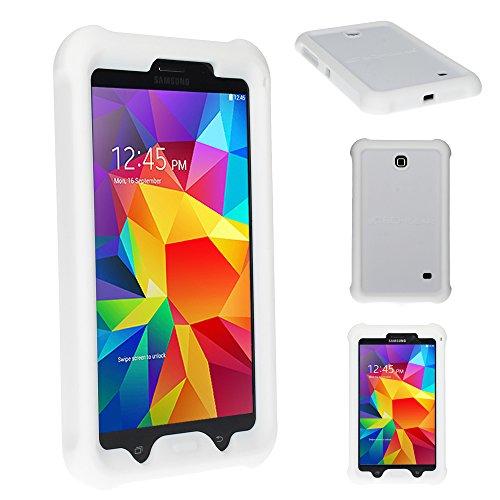 TECHGEAR Schutzhülle für Samsung Galaxy Tab 4 8,0 (SM-T330 SM-T331 SM-T335), [Kinderfreundlich] Leichtes Koffer Silikon Soft Shell Anti-Rutsch-Shockproof verstärkte Ecken + Displayschutzfolie. Weiß