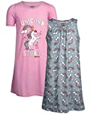 Limited Too Girls Nightgown Summer Pajamas (2 Pack), Pink Unicorn/Grey Rainbow, Size 10/12