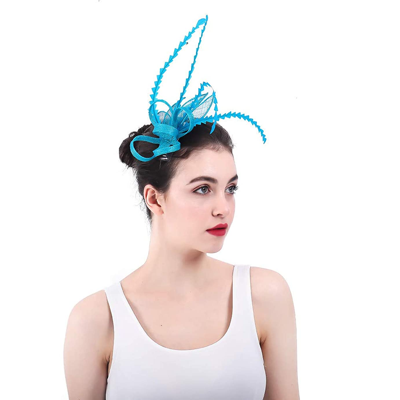 引用針ドループ女性の魅力的な帽子 ヘアピンの羽の魅力的な結婚式の女性の日ツアーロイヤルアスコット (色 : 青)