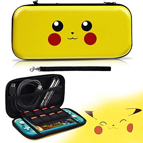 Funda de Pikachu para Switch Lite, Carcasa de Transporte de Pokemon Go Pikachu para Switch Lite, Pack de Estuche y Almacenamiento Portátil Rígida para Switch Lite Case [Armarillo]