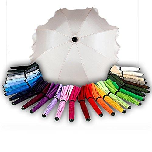 BAMBINIWELT Sonnenschirm für Kinderwagen Ø68cm UV-Schutz50+ Schirm Sonnensegel Sonnenschutz (Weiß)