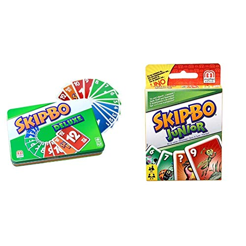 Mattel Games L3671 Skip-BO Deluxe in Metalldose Kartenspiel, geeignet für 2 - 6 Spieler & Skip-BO Junior Kartenspiel für Kinder, geeignet für 2 - 4 Spieler, Spieldauer ca. 30 Minuten