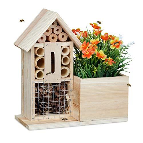 Relaxdays Blumentopf Bienenhotel, 2 in 1 Nisthilfe mit Übertopf, Pflanztopf Kräuter Blumen, Holz, HBT 26x24x12 cm, Natur
