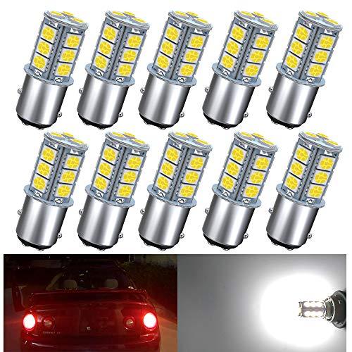 GIVEDOUA 1157 LED Bulb, BAY15D 7528 2057 2357 LED Replacement Light Bulbs for 12V RV Car Camper Trailer Brake Lights, Super Bright 5050 18-SMD 6000K White,10pcs