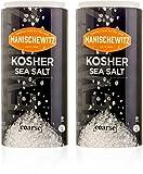 Manischewitz Premium Kosher Salt, Coarse Sea Salt, 16oz (2 Pack Total 2 Pounds) Easy Pour Canister, Product of Italy, Pure Mediterranean Sea Salt, The Perfect Salt Grinder Refill!