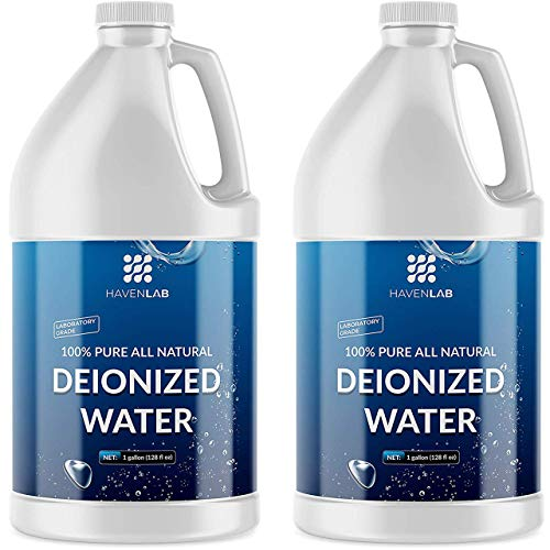 HAVENLAB Deionized Water; Demineralized Formula-Purification Softener for Cleaning, Automotive Battery Cooling, Laboratory, Watering Plants, Agua Desionizada Desmineralizada (2 Bottles)