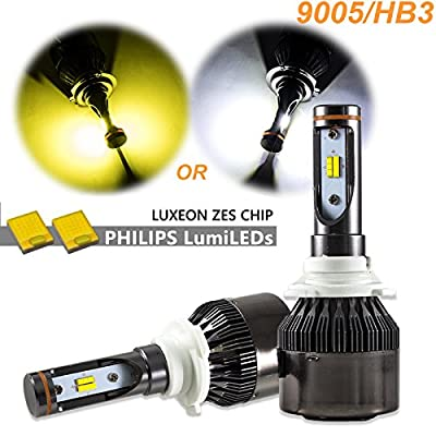 Dual-Color 3000K/6000K HID matching xenon white /yellow Philips LED Headlight Hi/Lo Beam DRL Lamps