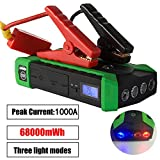 1000A Peak Current Car Battery Jump Starter Petrol 7.0L Diesel 4.0L High Power Booster Charger Emergency Auto Bank