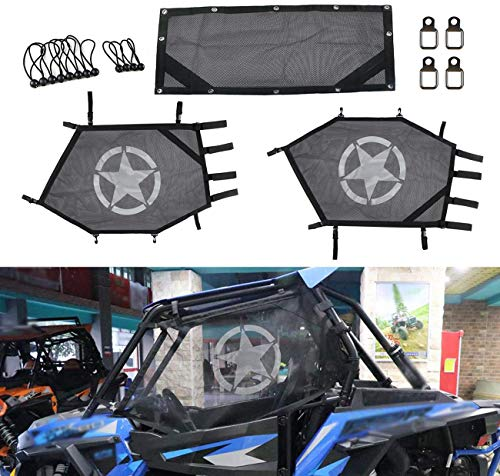 RONGZHI RZR Shade Nets/UTV Window Net/Roll Cage Mesh Guard for Polaris RZR 570 / RZR 800 / RZR 900 / RZR 1000 / RZR-S 900 / RZR-S 1000 / XP 1000 / XP Turbo / 900 XC / 900 Trail/ATV Cabs and Roofs
