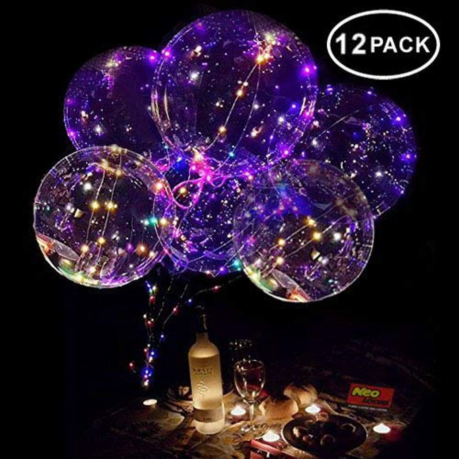 Neo LOONS 18 Inch LED Light Up Balloons LED Bobo Balloons Helium Balloons for Birthday,Wedding,Christmas Party Decorations,12 Pcs