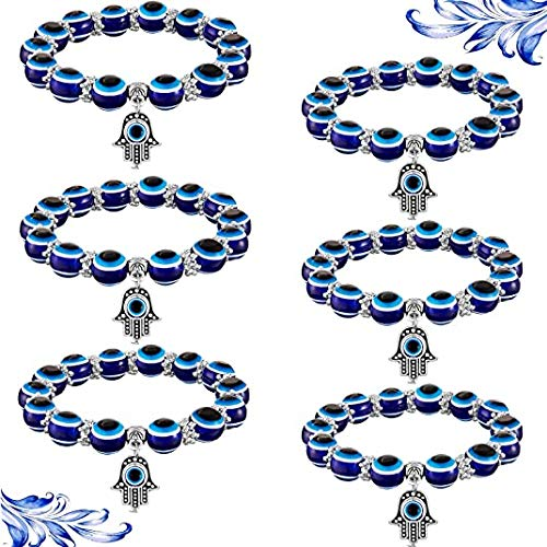 3\6pcs Evil Eye Hamsa Blue Bead Bracelet Hand Fatima Reiki Good Luck, Turkish Blue Beads Evil Eye Bracelet, Hamsa Hand of Fatima Lucky Charm Stretch Bracelet for Protection and Blessing (6pcs)