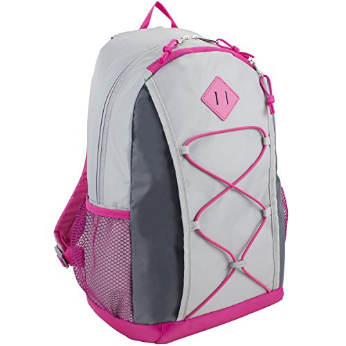 Eastsport Adrenaline Value Bungee School Backpack with Lash Tab, Pink with Gray