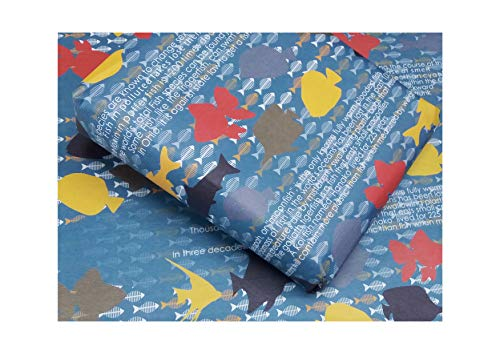 eVincE 10 Fish Gift Wrapping Paper Roll | First Birthday Baby Kids Girl boy | Christmas Hanukkah New Year Party Return Gifts | Gifting Wrappers Bundle 70x50 cms Recyclable Scrapbook Wraps