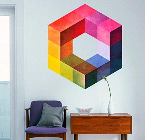 Sticker Muraux Cube Géométrique Eames Minimaliste Moderne - 74 x 85 cm