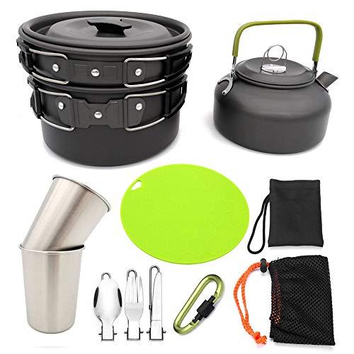 WHALLO Juego de Utensilios de Cocina y Olla para Camping/mochilero/Senderismo/Trekking Utensilios de Equipo Equipo de Cocina Antiadherente