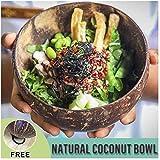 GJNVBDZSF Cuenco de Pasta Cáscara de Coco Ensalada de Frutas Cuenco de arroz Capacidad de 400 ml Coco Natural Pulido a Mano Suave Salud Artesanía antiescarcha Decoración Accesorios de Cocina