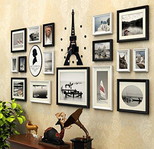 16 pcs/ensemble Grand Multi Image En Bois Européenne Rétro Cadres Photo Tour Eiffel Horloge Murale Acrylique Portrait Sticker Mural En Bois Massif Cadre Photo Collage (Couleur : B)