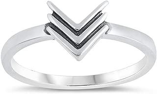 Down Arrow Triple Medal Chevron V-Shape Ring 925 Sterling Silver Band Sizes 4-12