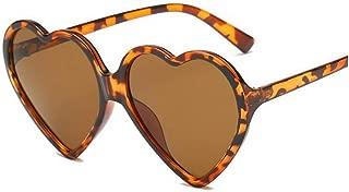 LUKEEXIN Women Fashion Oversized Heart Shaped Retro Sunglasses Cute Eyewear UV400 (Color : Leopard)